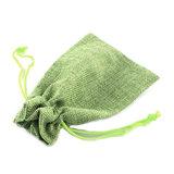 Jute zakje lime groen 9.5 x 13.5 cm_