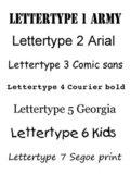 Traktatie kaartjes met naam lettertypes