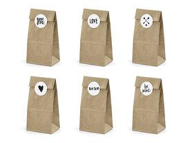 Kraft blokzakjes met liefde mix stickers