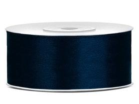 Dubbelzijdig satijn lint 25 mm donker blauw