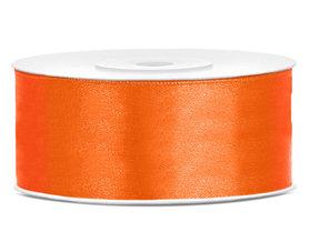 Dubbelzijdig satijn lint 25 mm oranje