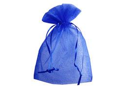 Organza zakjes 10 x 15 cm blauw