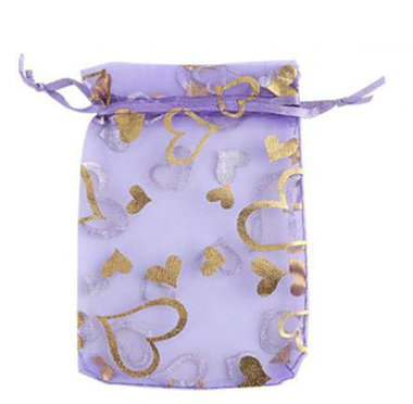 Organza zakjes lavendel goud hartje