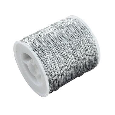 Gevlochten metallic rayon draad 1 mm zilver