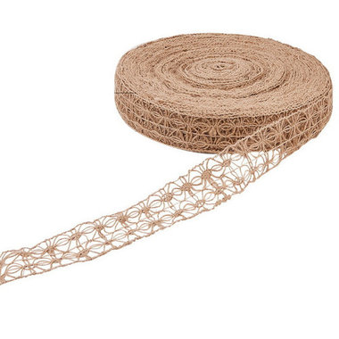 Hennep lint opengewerkt 4 cm breed 5 meter rol