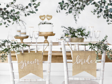 Jute banner bride & groom