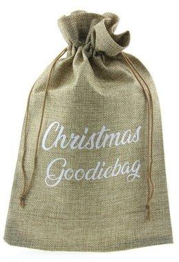 Jute zakje 20 x 30 cm Christmas goodiebag wit