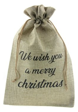 Jute zakje 20 x 30 cm we wish you a merry christmas zwart