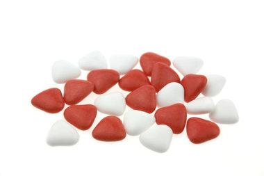 Bruidsuiker hartvormig mini mix wit-rood