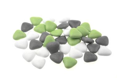 Bruidsuiker hartvormig mini wit , grijs en groen mix