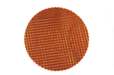 Organza cirkels bordeaux rood met goud blokjes 50 stuks