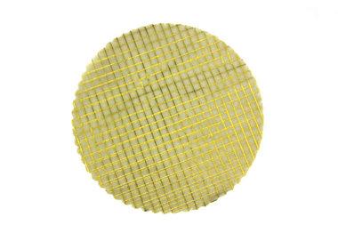 Organza cirkels ivoor met goud blokjes 50 stuks