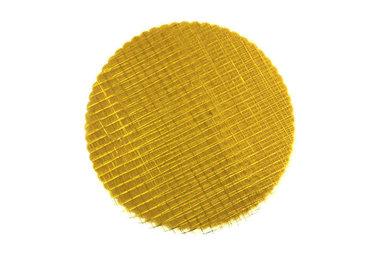 Organza cirkels goud met goud blokjes 50 stuks