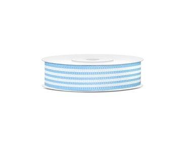 Grosgrain lint 18 mm Licht blauw met witte streep