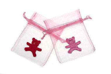 Organza zakje licht roze met satijn beer roze