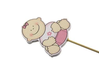 Houten steker baby roze zittend