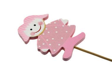 Houten steker baby roze staand