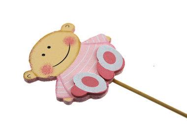 Houten steker baby roze zittend II