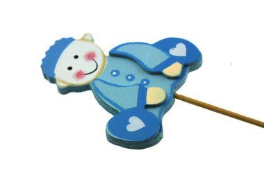Houten steker baby blauw zittend