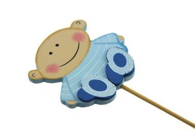Houten steker baby blauw