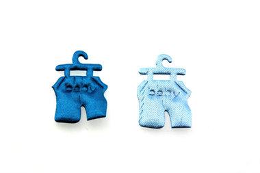 10 satijn plakker baby broekje blauw