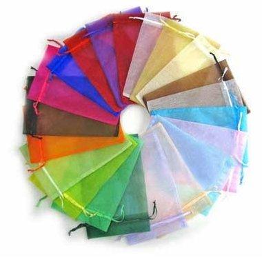 100 organza zakjes kleurenpakket 5 x 7 cm