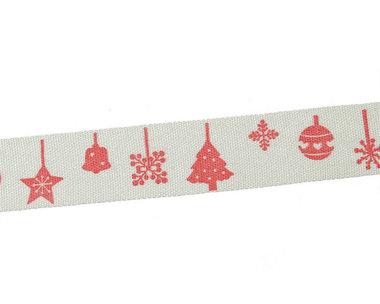 Kerstlint rode boom bal bel 15 mm breed