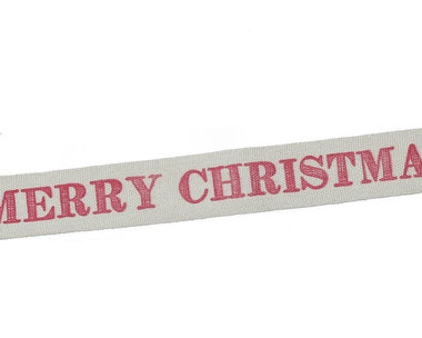 Kerstlint merry christmas en sterretjes 15 mm breed