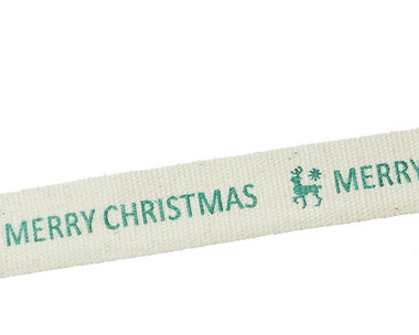 Kerstlint merry christmas en rendier 15 mm breed