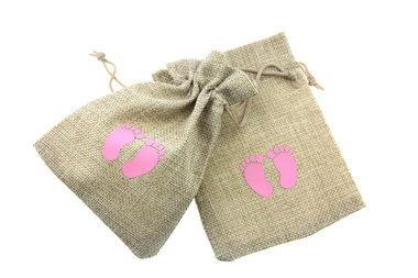 Jute zakjes babyvoetjes roze 9.5 x 13.5 cm
