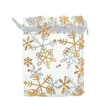 Organza zakjes wit met gouden ijskristal 10 x 12 cm