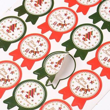 Kerst sticker 16 stuks op vel