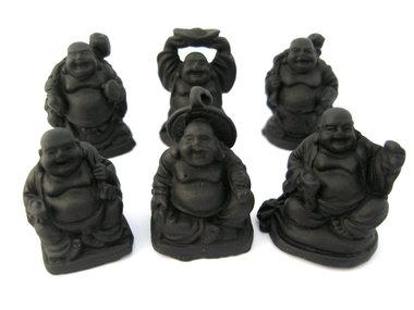 Set 3 cm boeddha zwart