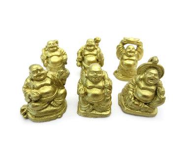 1 set 3 cm boeddha goud 6 stuks