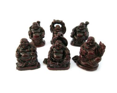 1 set 3 cm boeddha rood 6 stuks