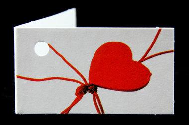 Kaartjes voor bedankjes gelukspoppetjes hartje