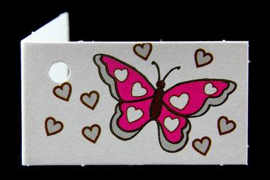 Traktatie kaartjes vlinder fuchsia met naam