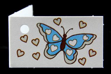 Traktatie kaartjes vlinder aqua met naam