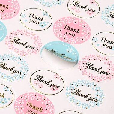 Stickers thank you 24 stuks op vel