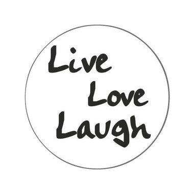 Ronde stickers live love laugh 10 stuks