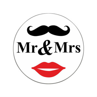 Ronde stickers Mr & Mrs 10 stuks