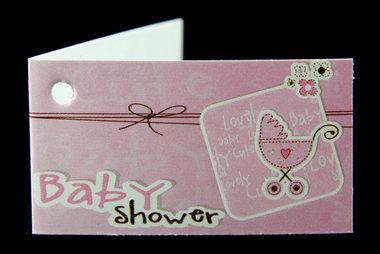 Kaartjes geboortebedankjes babyshower roze