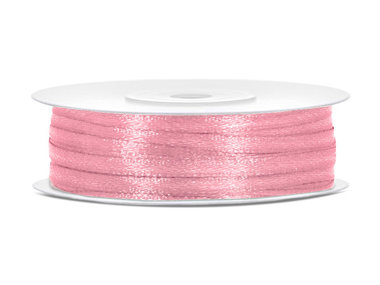 Roze satijn lint 3 mm breed