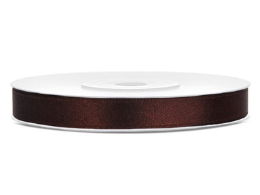 Bruin satijn lint 6 mm breed