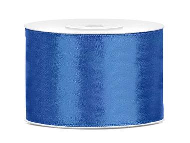 Blauw satijn lint 5 cm breed