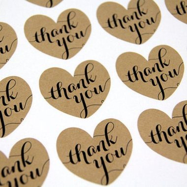Kraft stickers thank you 12 stuks op vel