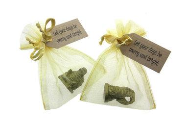 Bedankje kerst met 3 cm boeddha en label
