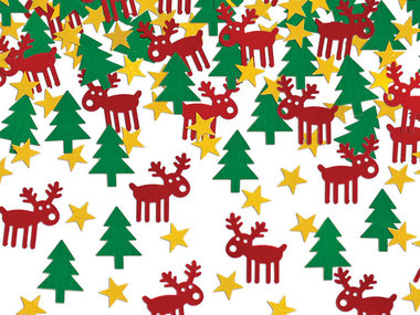 Kerst confetti rudolf ster en kerstboom