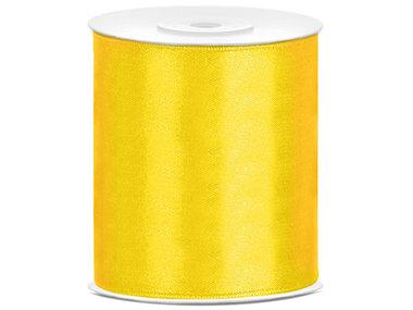 Geel satijn lint 10 cm breed