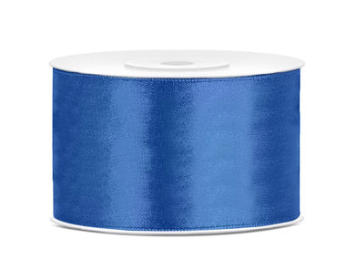 Blauw satijn lint 38 mm breed
